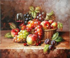 Fruit Basket Free Shipping Classical Wine Glass Painting Still