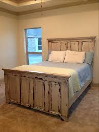 Vintage Door Headboard Distressed Headboard And Footboard Made From Two Old Doors Superb