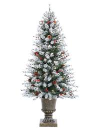4 5 ft pre lit flocked artificial pine christmas tree with cones