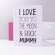 i you to the moon and back mummy card by ltd