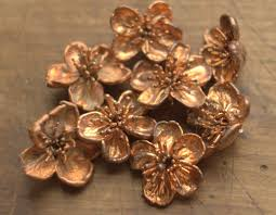 electroforming copper real cherry flowers electroformed with copper copper dipped big