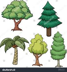 set five trees all separate stock vector 68980729