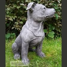 staffordshire bull terrier garden statue onefold uk