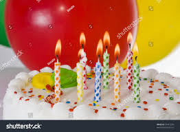 Lighted Balloons Birthday Cake Lighted Candles Balloons Stock Photo 35417299