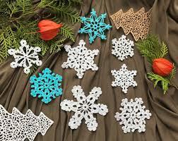 white crochet snowflakes ornament decoration lace