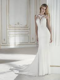 illusion neckline wedding dress paladia wedding dress with illusion neckline and mermaid cut