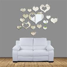 online get cheap mirror heart aliexpress com alibaba group oujing 3d wall sticker home 3d removable heart art decor wall stickers 1set 15pcs living room