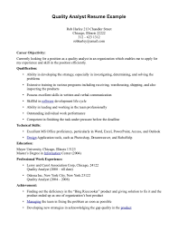 Quality Assurance Resume Sample Quality Assurance Analyst Resume Sample Free Resume Example And