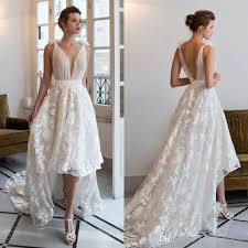 wedding dress brand discount riki dalal 2016 high low weddin dresses lace tie straps