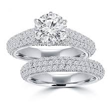 Wedding Ring Sets by 3 25 Ct Ladies Round Cut Diamond Engagement Ring Set In 14 Kt