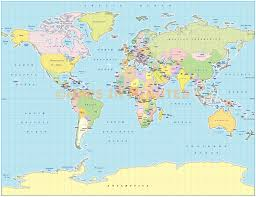 Vector World Map Digital Vector Map Royalty Free Gall Projection Political World