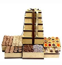 gift towers grand indulgence chocolate suede gift tower kosher gifts