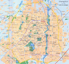 China Physical Map by China Changchun Map Attraction Layout Streets