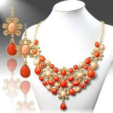 earrings statement necklace images Orange and pink statement necklace earrings set creative jpg