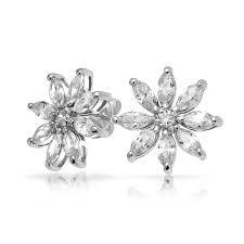 flower stud earrings clear marquise cz flower stud earrings 925 sterling silver