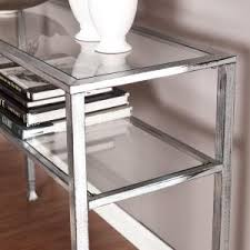 Silver Console Table Southern Enterprises Silver And Black Distressed Glass Top Console