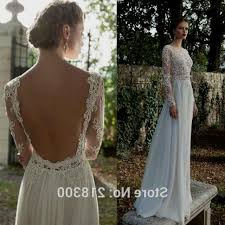 wedding dress open back wedding dress with lace sleeves and open back high cut wedding