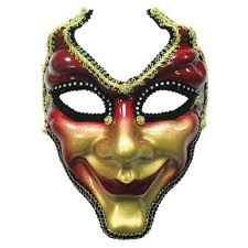 jester full face mask red and gold