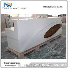 White Curved Reception Desk White And Wood Curved Artificial Marble Stone Front Reception Desk