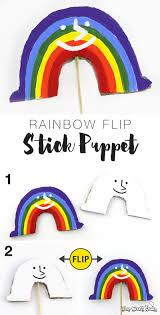 galloping unicorn and rainbow flip stick puppets the craft train