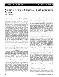 workability testing and performance of self consolidating concrete