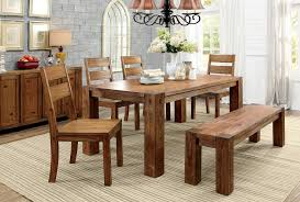 Oak Dining Table Bench Frontier Dark Oak Finish Dining Table 4 Side Chairs Bench Set