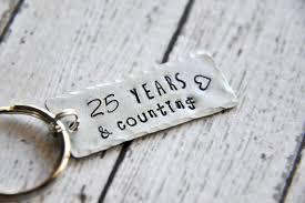 25 anniversary gift anniversary keychain 25th anniversary gift 25 year
