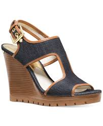 lyst michael kors michael gillian mid wedge sandals in blue