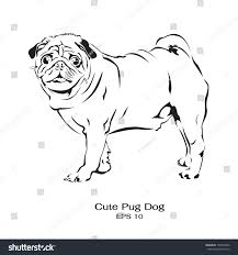 black white drawing pug dog standing stock vector 150354386