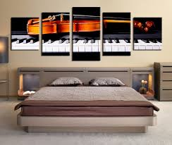Grey Bedroom Wall Art 5 Piece Canvas Music Notes Grey Huge Pictures