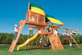 exterior sun valley deluxe wooden gorilla swing sets with natural