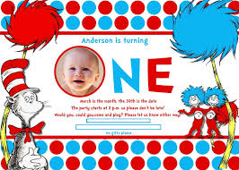 Birthday Invitation Cards For Kids First Birthday Dr Seuss 1st Birthday Invitations U2013 Gangcraft Net