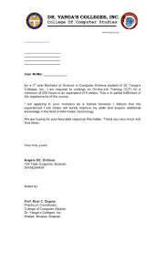 Sample Resume Template For Ojt by Example Of Application Letter For Ojt In Hotel