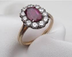 engagement ruby rings images Midcentury ru diamond halo ring ru diamond engagement ring antique jpg