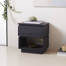 Black Wood Nightstand Emmerson Modern Reclaimed Wood Nightstand Ink Black West Elm