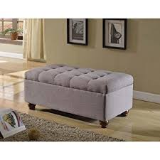 linen storage ottoman bench com tufted linen and upholstered grey storage ottoman