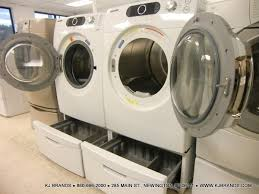Samsung Blue Washer And Dryer Pedestal Bundle Specializing In New Scratch And Dent Pre Owned And