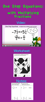 free and worksheet about solving one step equations involving fractions solving one step equations equation algebra and