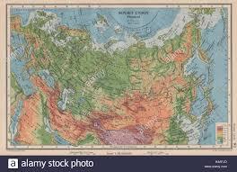 Ussr Map Soviet Union Physical Ussr Railways Bartholomew 1944 Old