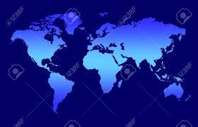 Dark Sky Map World Map Blue Gradient Continents On Dark Background Stock