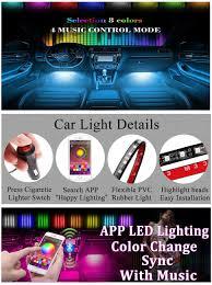 app controlled car lights amazon com ficbox 4pcs multi color led car interior app music