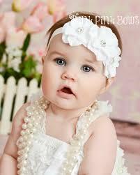 baby headband white baby headband flower headband baby headbandsbaptism