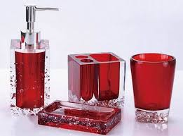 Glass Bathroom Accessories Sets 20 Fascinating Red Bathroom Accessories Home Design Lover