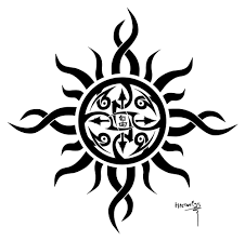 tribal moon and sun tattoos on shoulder