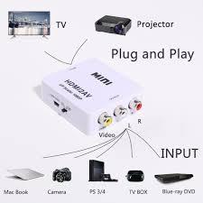 50pcs mini hd video converter box hdmi to rca av cvsb l r video