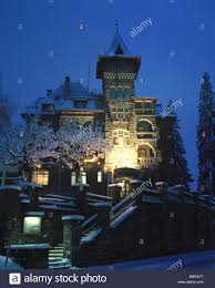 lighting flims graubunden grisons hotel at night castle hotel