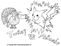 thanksgiving pikachu fighting turkey crafts activity coloring