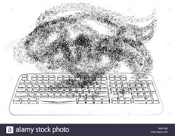 chaos keyboard and chaotic fog of number and letter stock vector