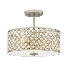 Quoizel Flush Mount Ceiling Light Shop Quoizel Juliana 14 25 In W Gold Etched Glass Semi Flush Mount