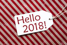 hello wrapping paper label on wrapping paper text hello 2018 stock photo picture
